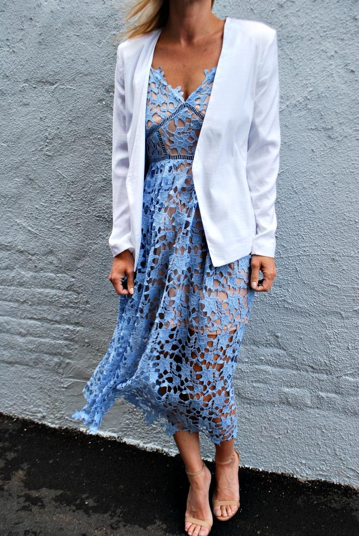 Aqua Lace Dress//White Blazer //Steve Madden Sandals