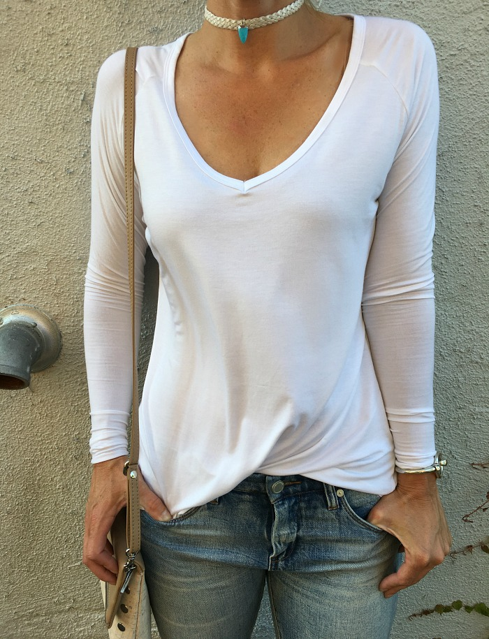 The Best White T-Shirts for Women - Long sleeve white close-up