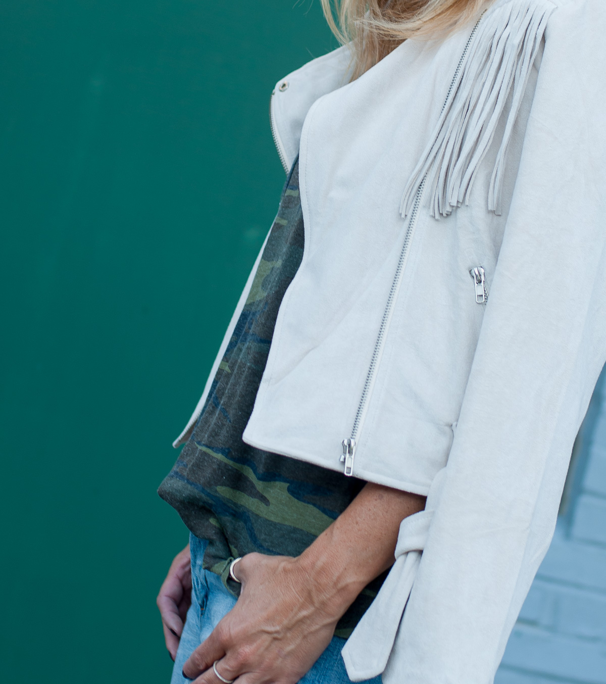 camo trend with white jacket