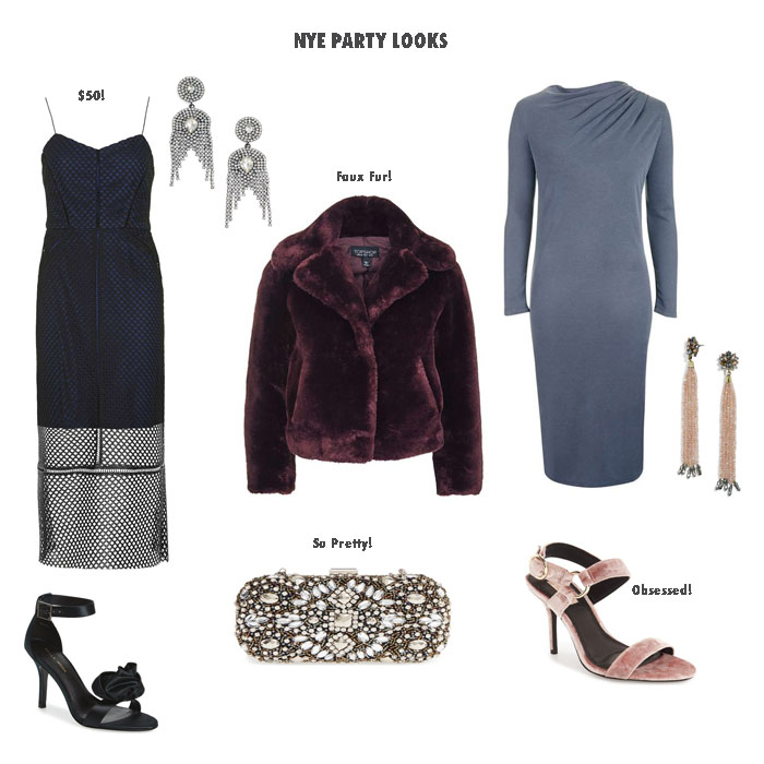 a collage of clothes for New Years Eve Outfit Inspiration and Nordstrom Half-Yearly Sale