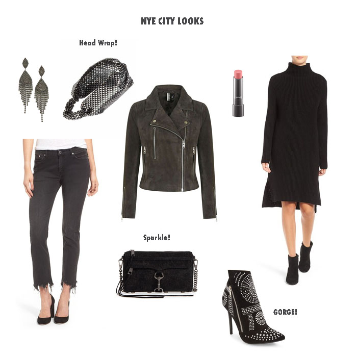 collage of different clothes and accessories for New Years Eve Outfit Inspiration and Nordstrom Half-Yearly Sale