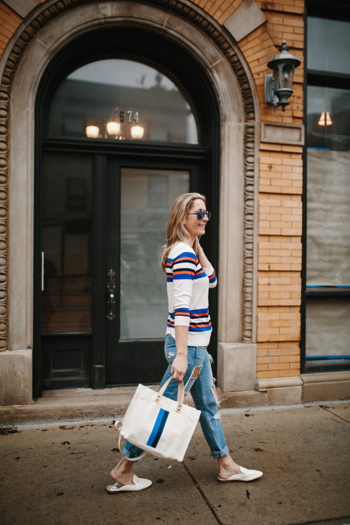 Megan Medica is wearing a Striped Sweater, Distressed Boyfriend Jeans and White Mules