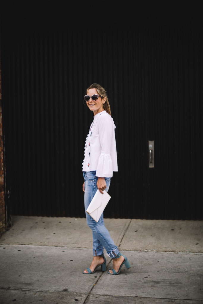 white blouse with jeans outfit