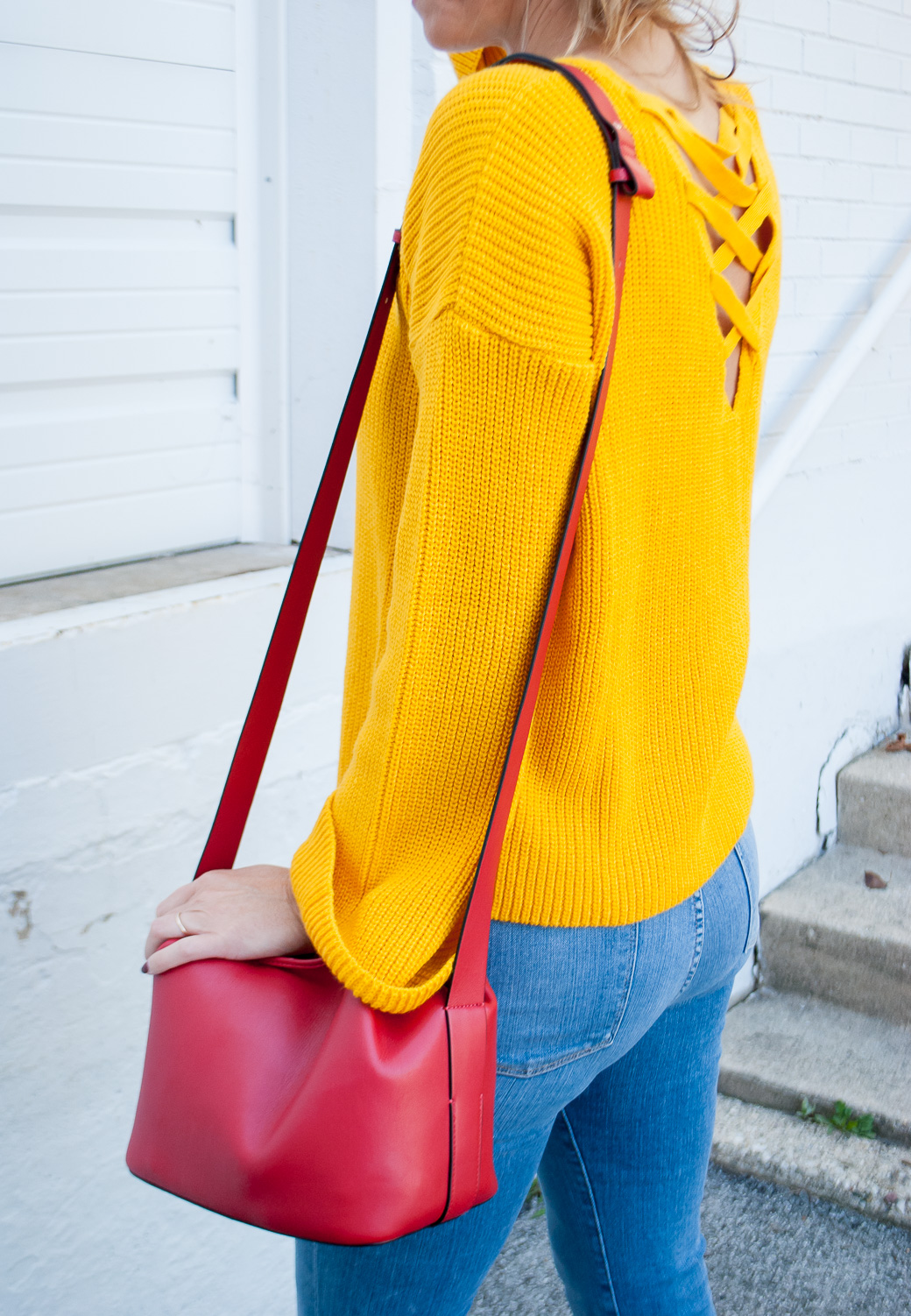 side view of a marigold fall color outfit