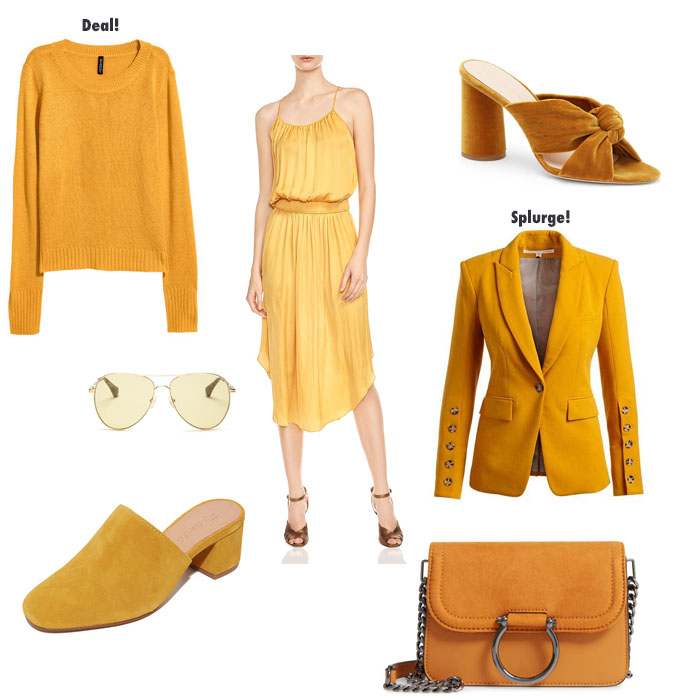 the color marigold is perfect for fall as seen here in these clothing choices