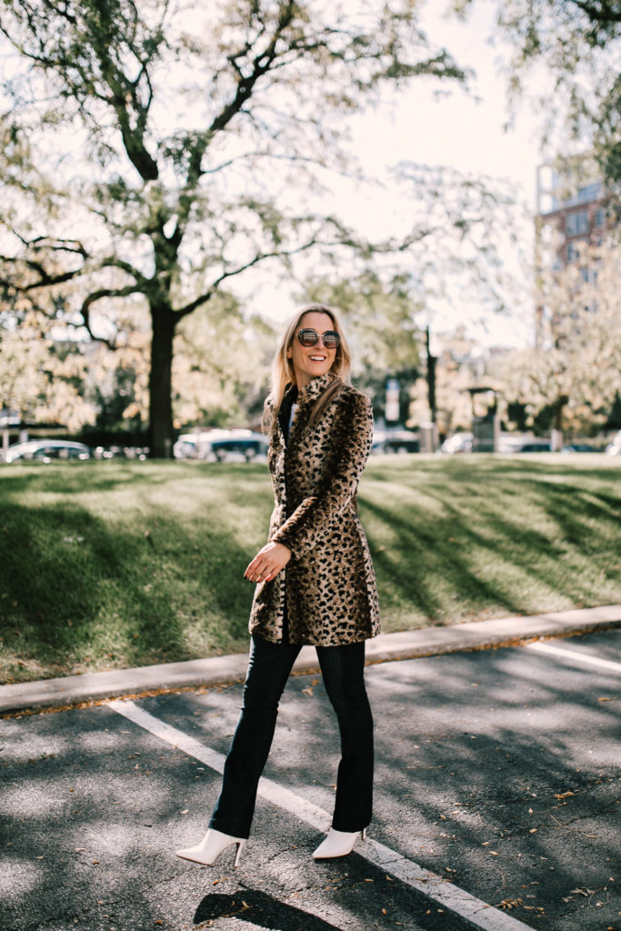 Wearing a leopard print coat for NYC