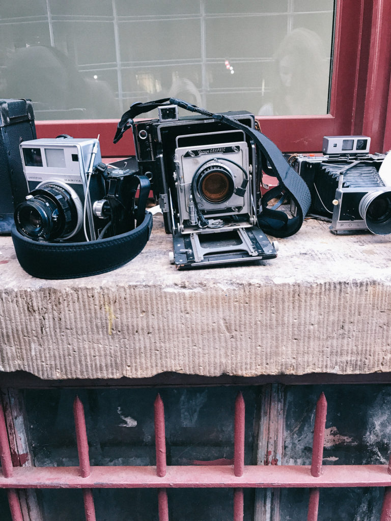Vintage Polaroid Cameras on the streets of Soho