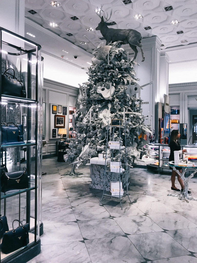 Bergdorf Goodman decorated in all white for Christmas