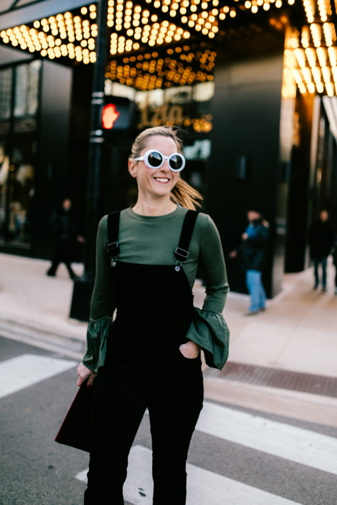 Wearing Velvet Overalls as an Alternative to a Dress