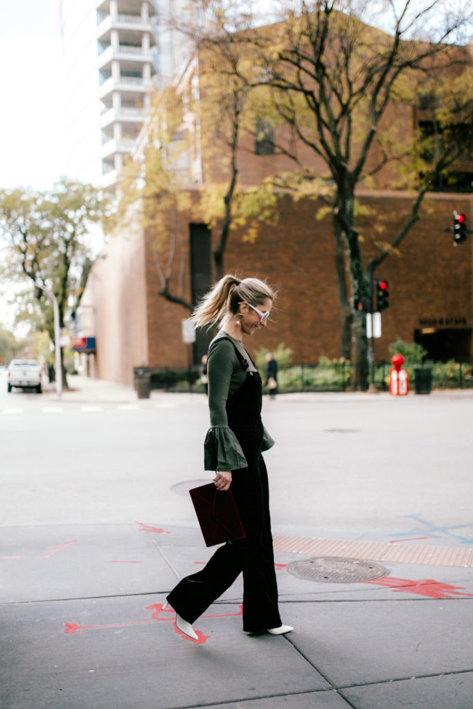 Velvet Overalls with Clutch and White Boots