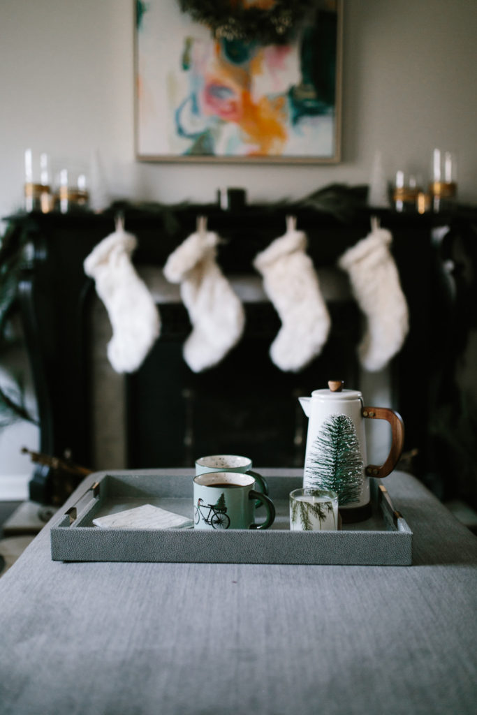 Upgrading Holiday Decor with faux fur stockings