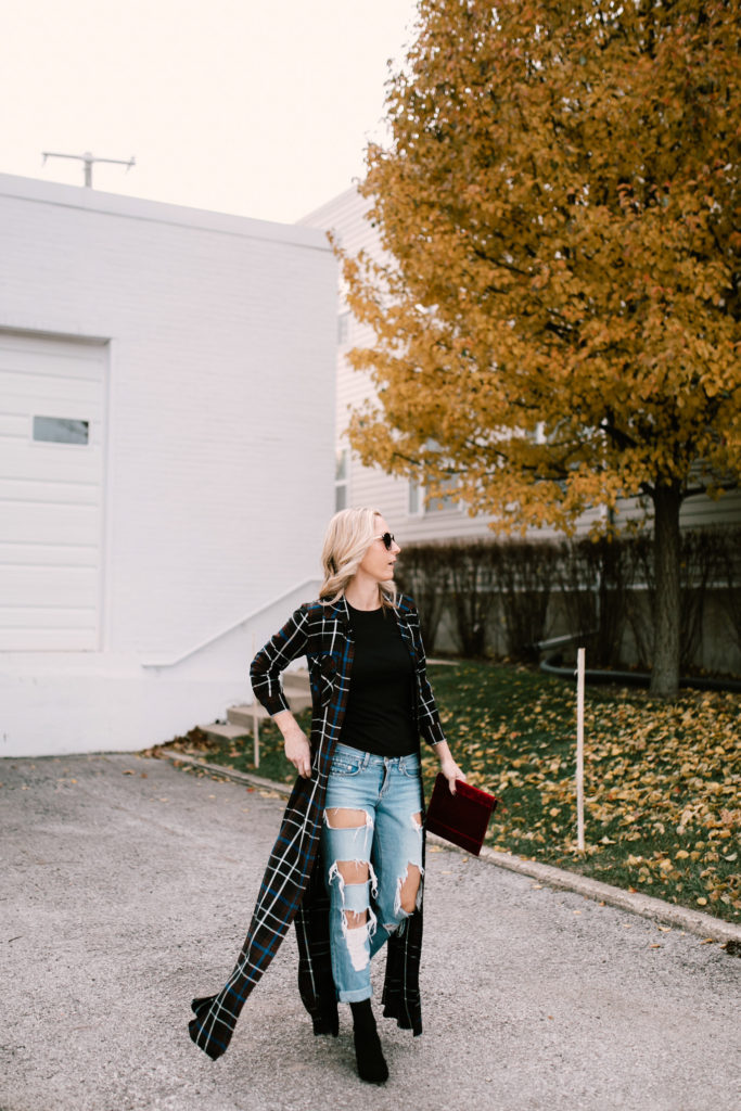 Plaid maxi dress with distressed denim, fitted black tee and black booties