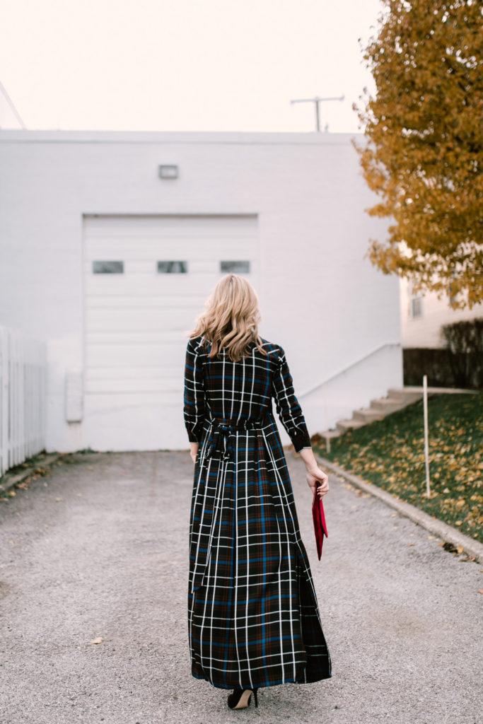 Plaid maxi dress features pockets