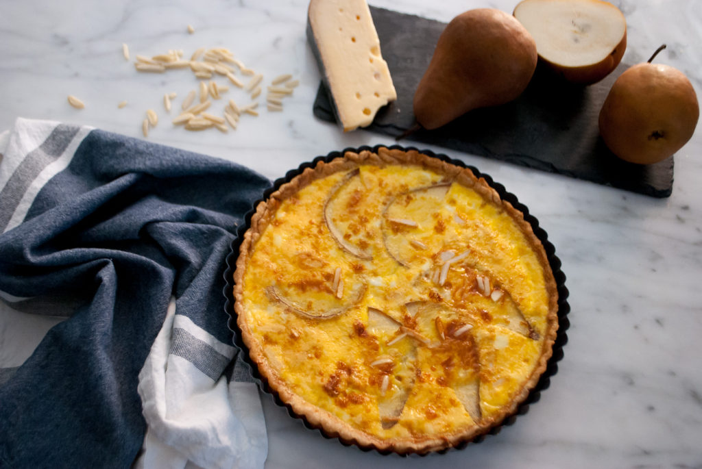 Quiche with pear, Swiss cheese and almonds