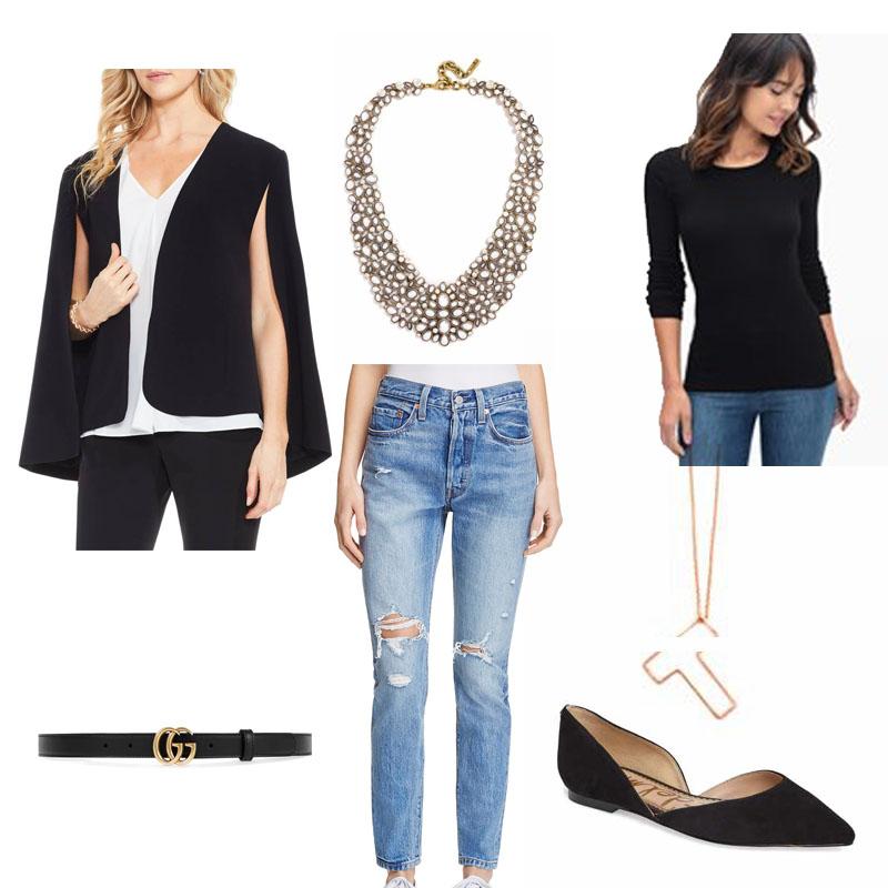 Black Basics: Black cape, black tee, statement necklace, denim, black flats for a go-to basic black everyday outfit