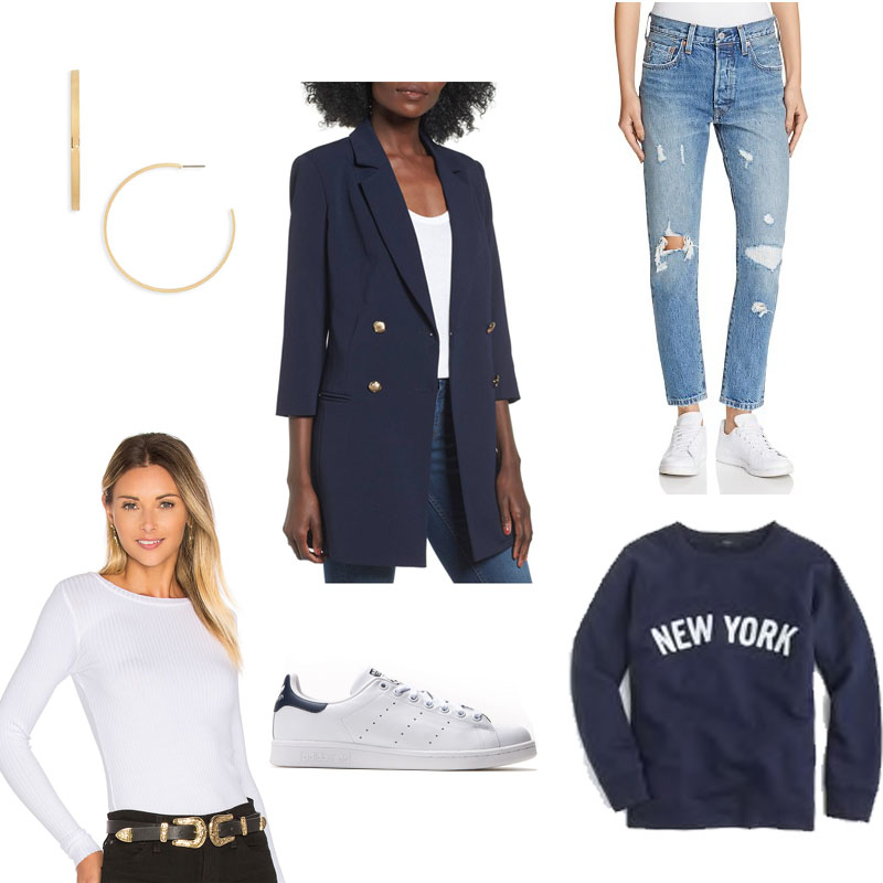 Longer version navy blazer, white ribbed long sleeve tee, distressed denim, retro sneakers, gold earrings make up this outfit of the day mood board