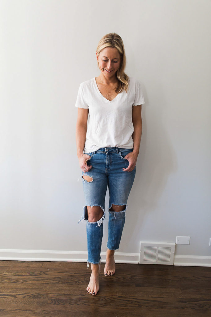 How to Style Denim on Denim with a pair of denim and a white tee