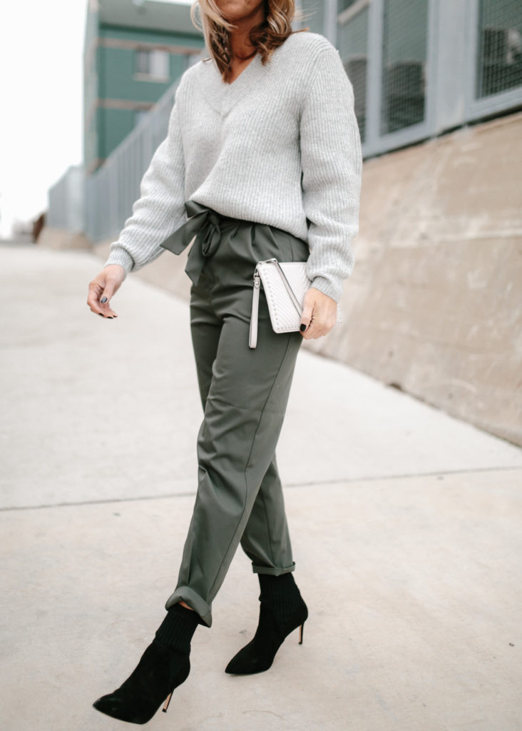 In the winter, pair paper bag pants with a sock bootie in the winter