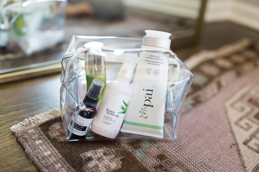 Morning Skin Care Routine Beauty Products in clear cosmetic bag