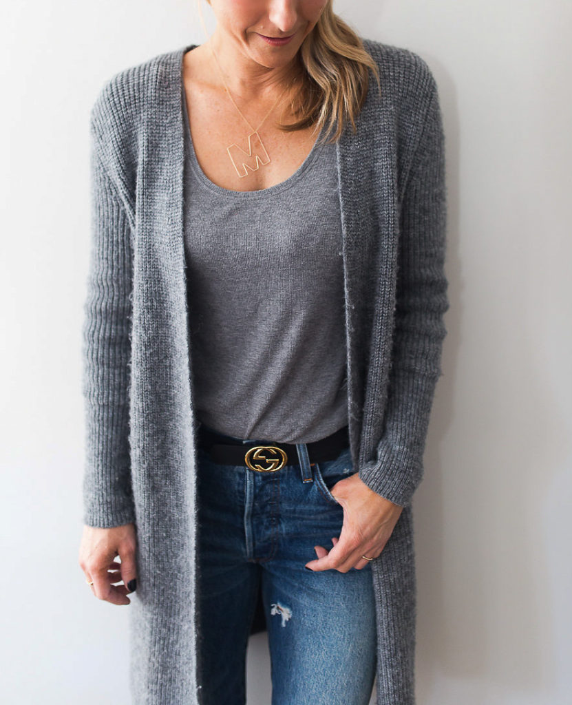Add a long cardigan to your basics like denim and a tank to achieve an everyday look