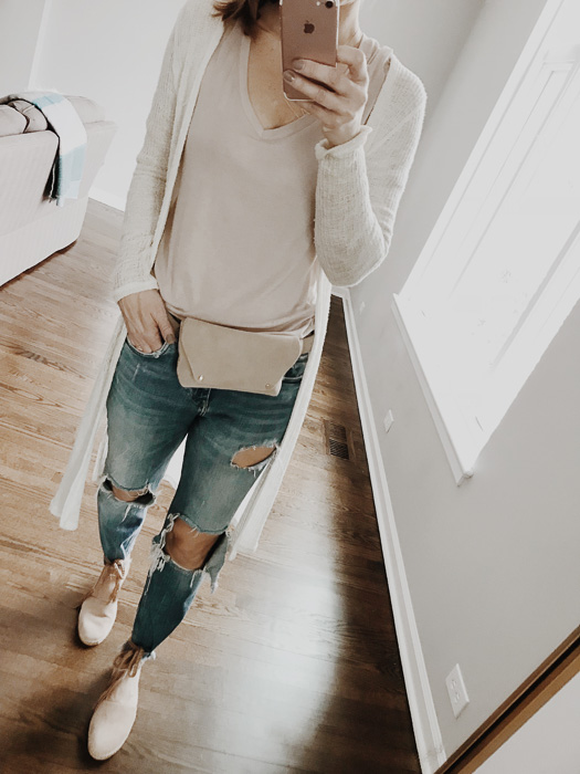 Blush tone fanny pack and wrap braided espadrilles