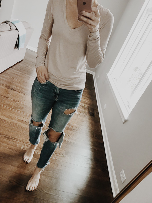 A neutral basic long sleeve tee in blush tone is perfect for spring