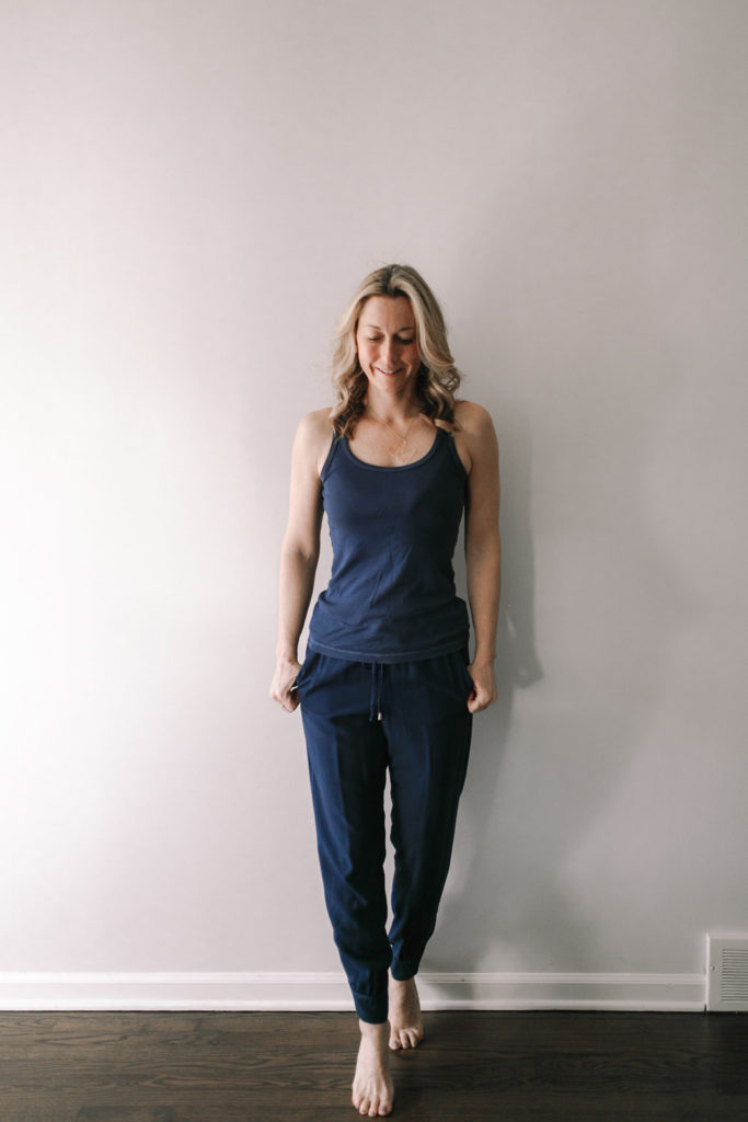 Navy tank with loose fitting navy rayon joggers