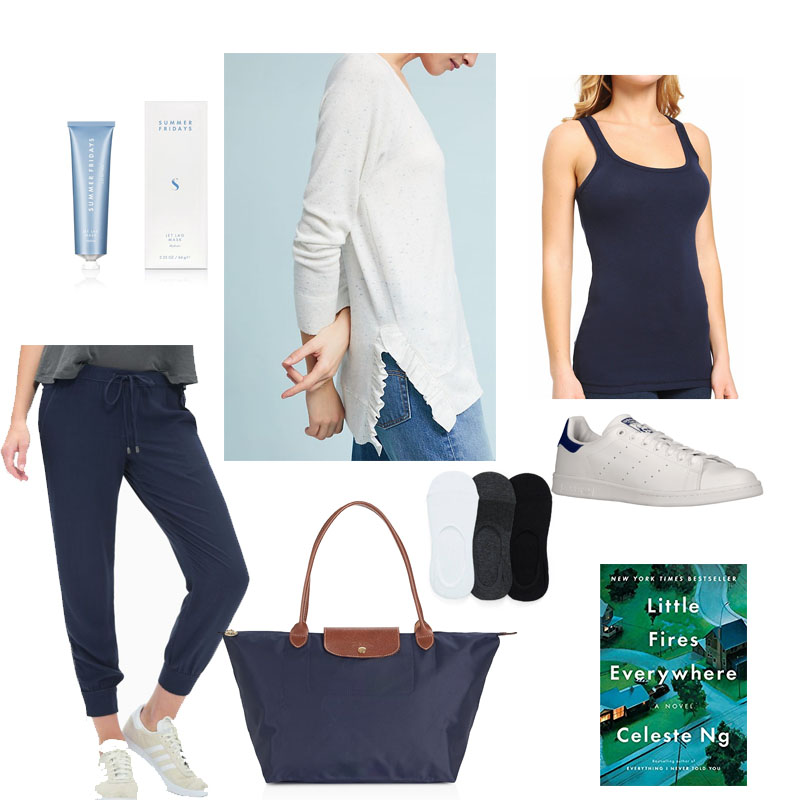 Travel Attire mood board: outfit basics plus current read and jet lag face mask