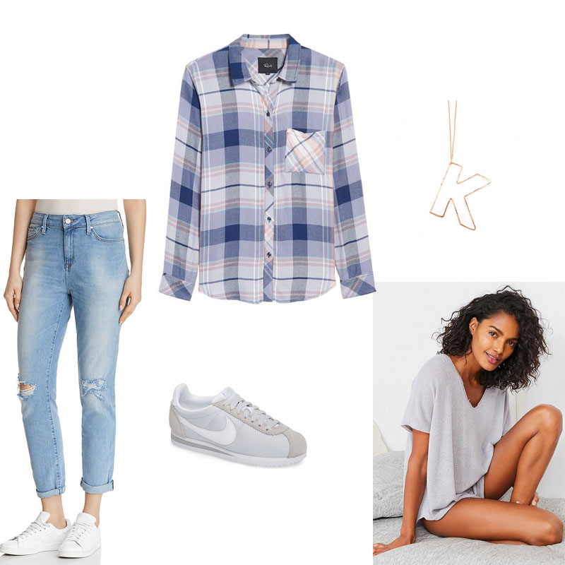 Transitioning Seasons With Plaid Mood Board for spring of light-colored denim, plaid button down, short sleeve thermal top, street style sneakers and a gold necklace