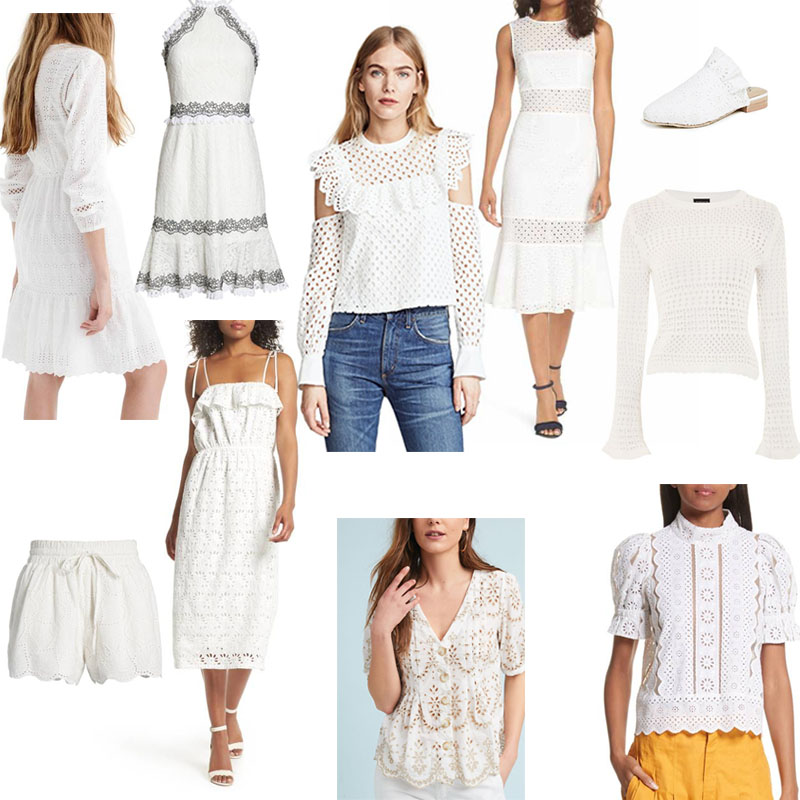 Collage of white eyelet clothing and crochet pieces for spring