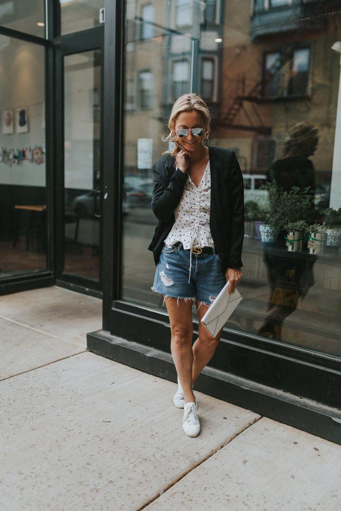 How To Wear Denim Shorts With A Blazer