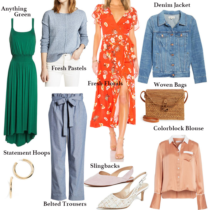Spring Wardrobe Checklist including a Green Dress, Blue Pastel Sweater, Red Floral Maxi, Denim Jacket, Woven Bag, Colorblock Blouse, Slingbacks, Belted Trouser, Statement Hoops