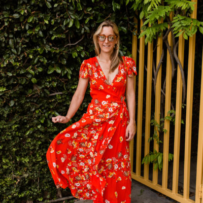 Fresh Floral Red Maxi Dress for Spring