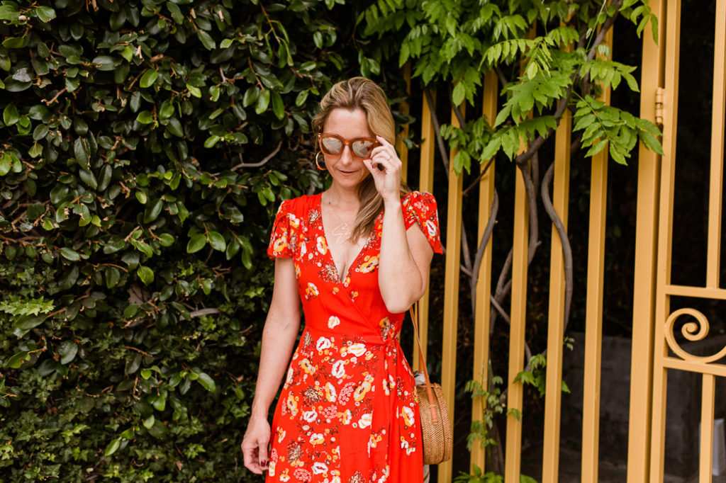 Spring Floral Red Maxi Dress
