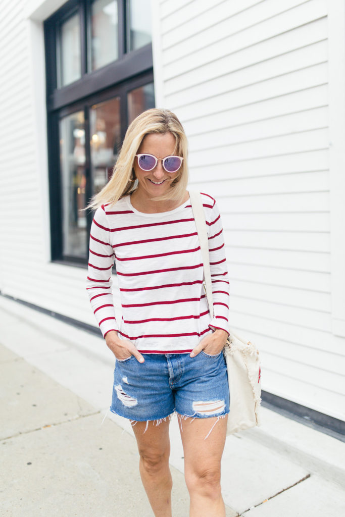 4th of July Finds - 4th of July outfit: Red & White Striped Shirt With Ripped Shorts