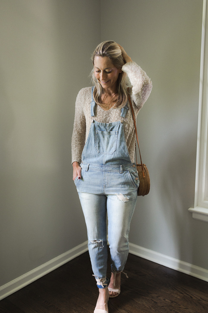 Distressed Denim Overalls - Women's ivory sweater Cotton v neck sweater - Feodora Ankle Wrap Sandal