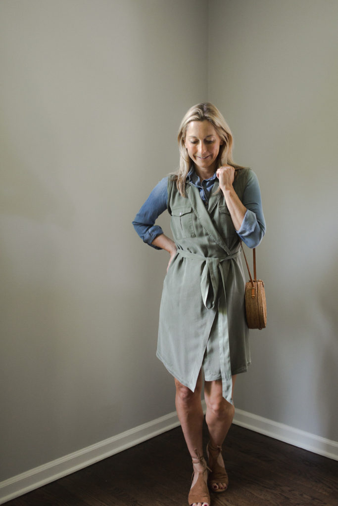 a wrap dress with a chambray shirt