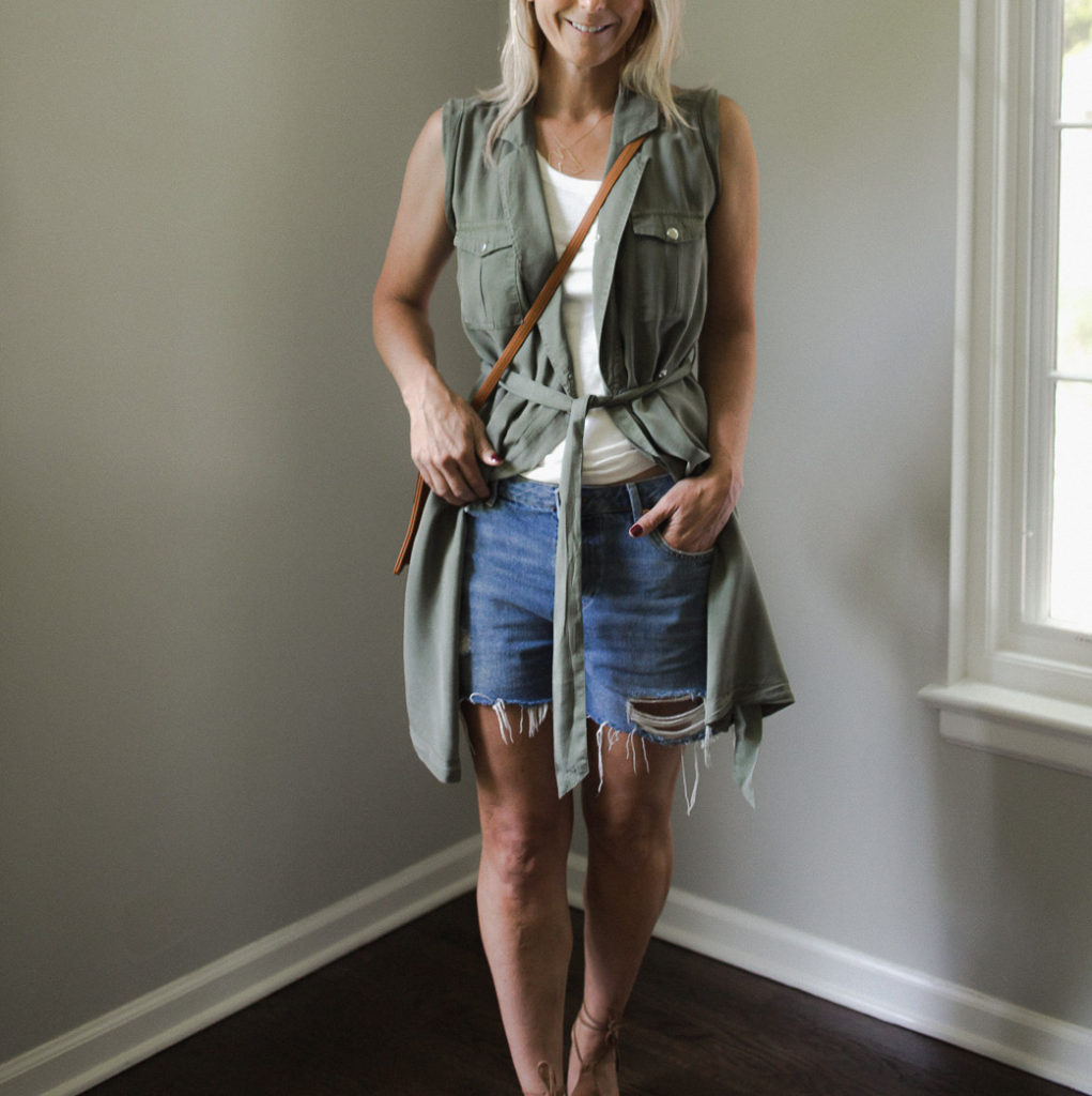 Wrap dress, denim shorts and a white tank - Never Without Navy