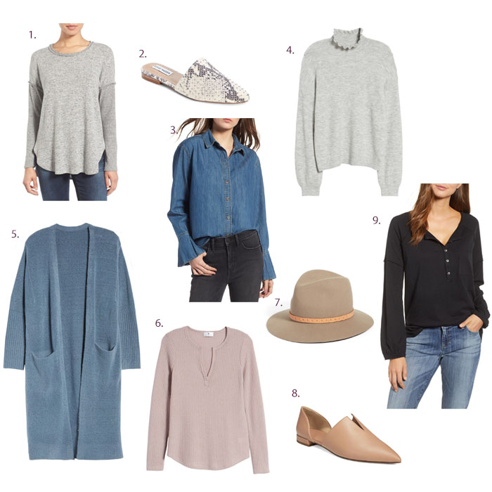 Nordstrom Anniversary Sale basic tees, sweater and shoes for fall