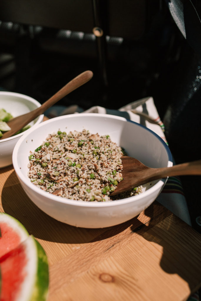 Quinoa salad with fresh herbs, peas and a lemon vinagrette: Outdoor dining recipes