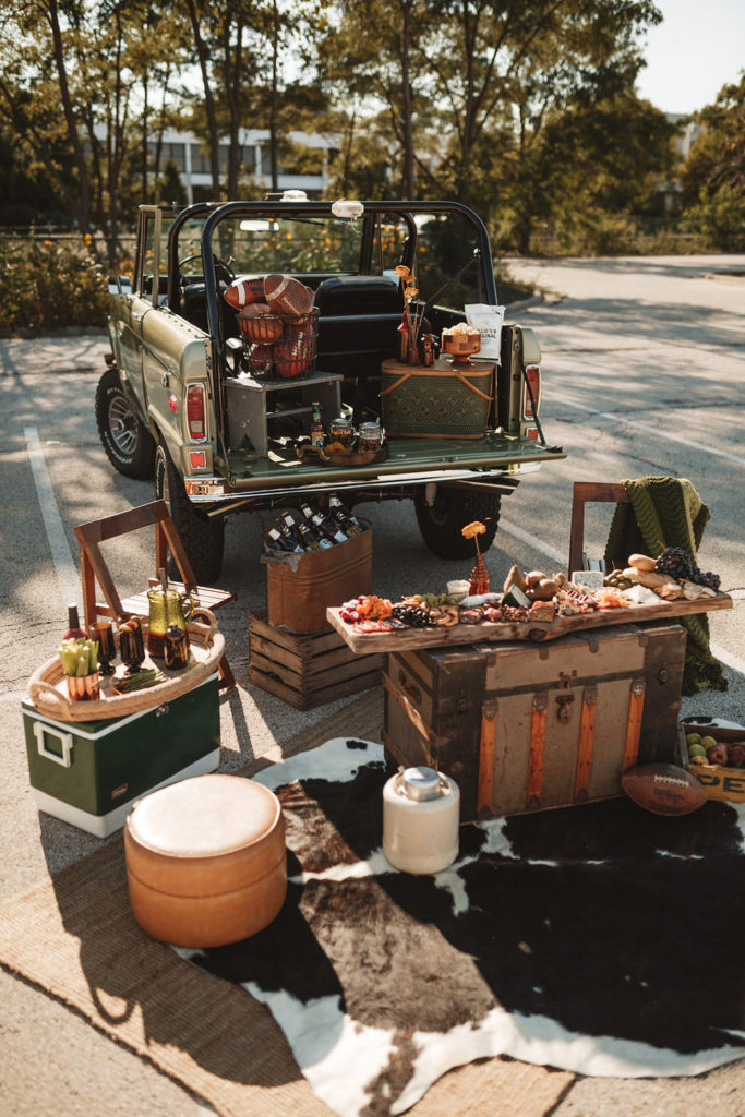 An elevated tailgate with charcuterie boards