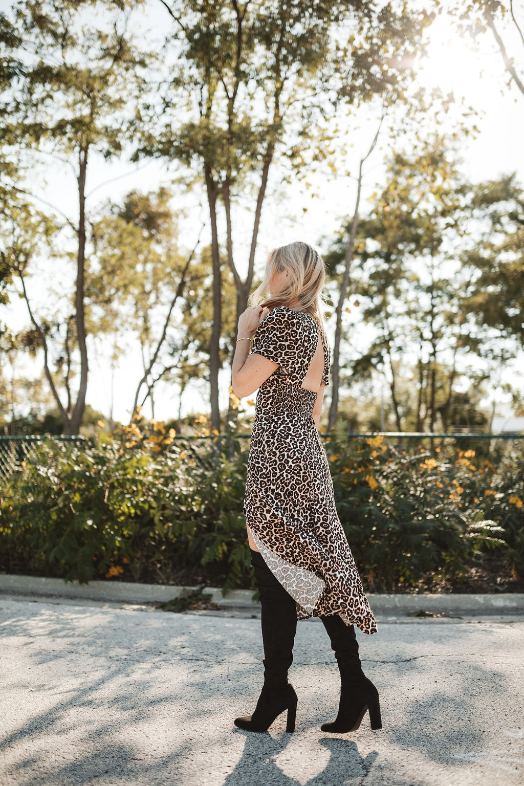 leopard print dress with OTK boots