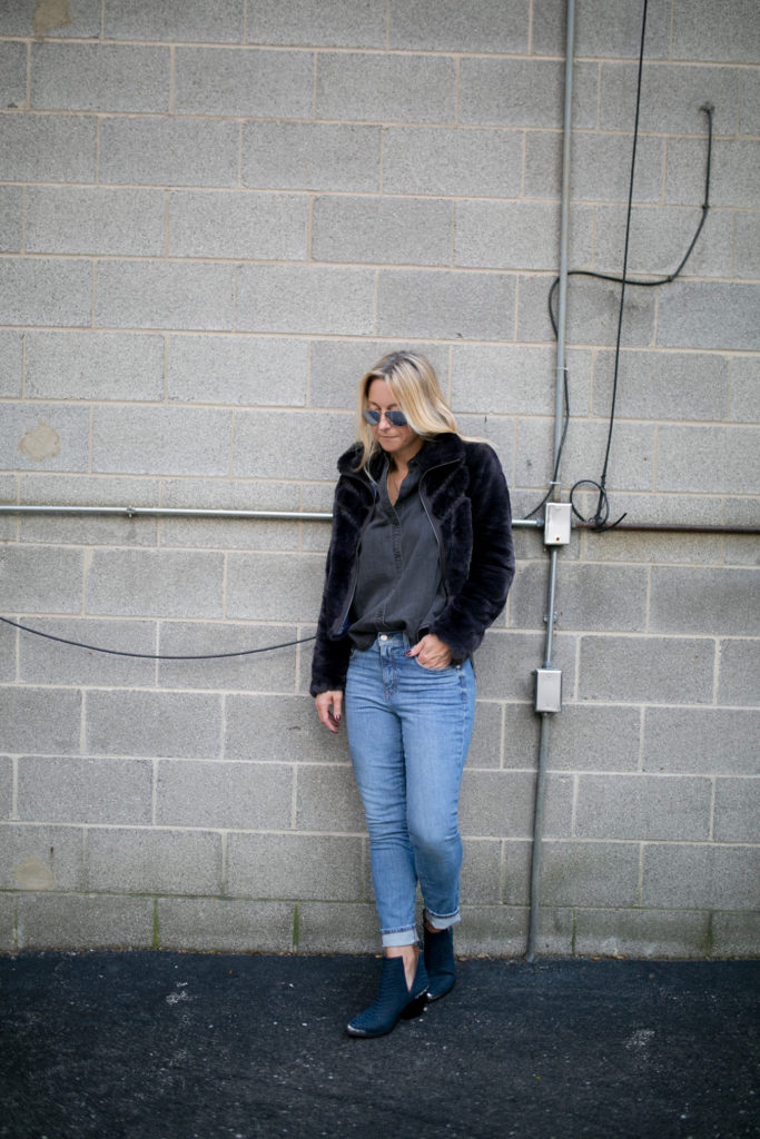 faux fur jacket with denim and button down