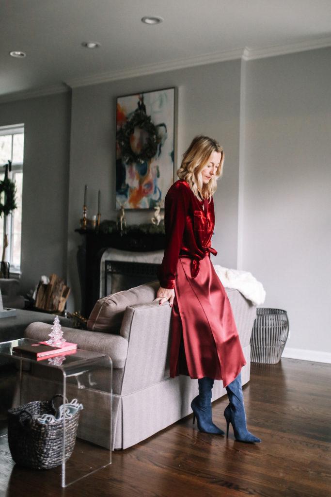 Velvet Shirt WIT & WISDOM - Drape Panel Silk Skirt VINCE - Jeffrey Campbell Gamora Point Toe Tall Boots
