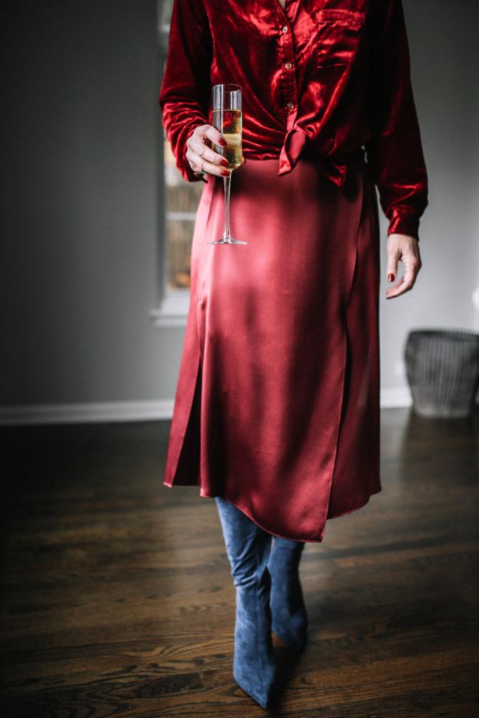 Velvet Shirt WIT & WISDOM - Drape Panel Silk Skirt VINCE - Jeffrey Campbell Gamora Point Toe Tall Boots - Megan Medica