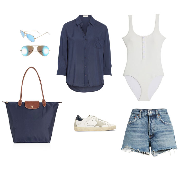 Sunnies here // Button down hereand here // Swimsuit here // Bag here // Sneakers here // Shorts here