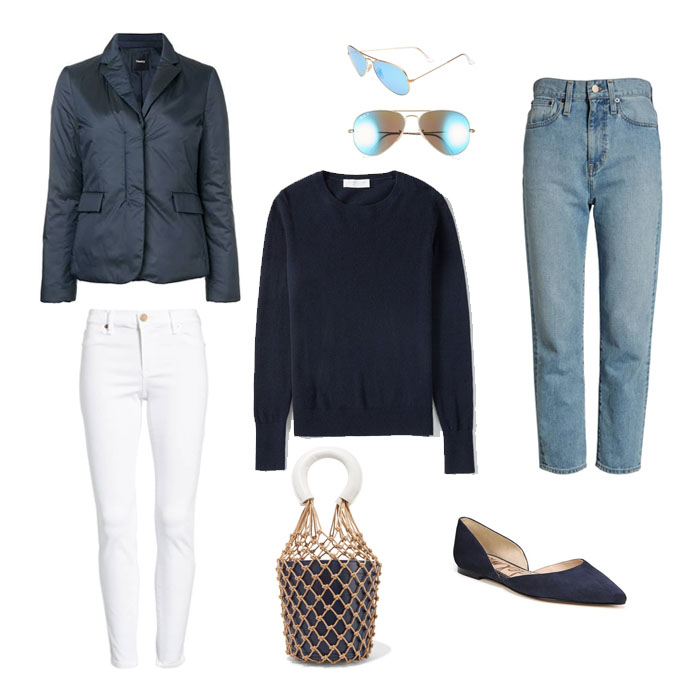 Jacket here // Sweater here // Sunnies here // Denim here // White denim here // Bag here // Flats here