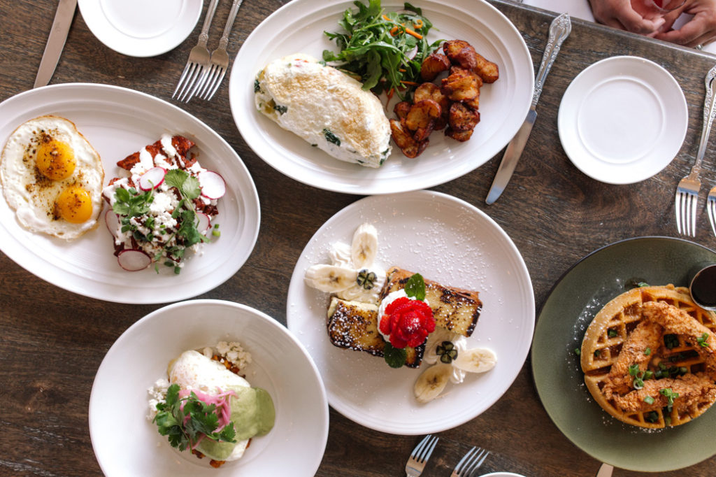 guildhall eggs, waffles, french toast, and more brunch plates that are delicious and fresh