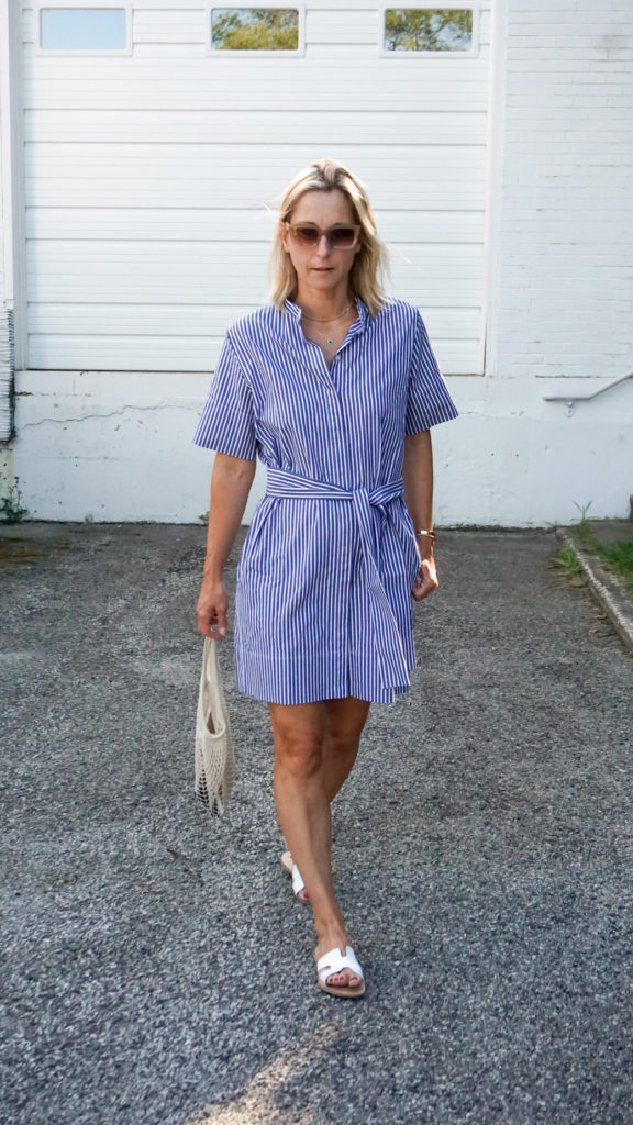 this navy shirt dress is an Everlane favorite