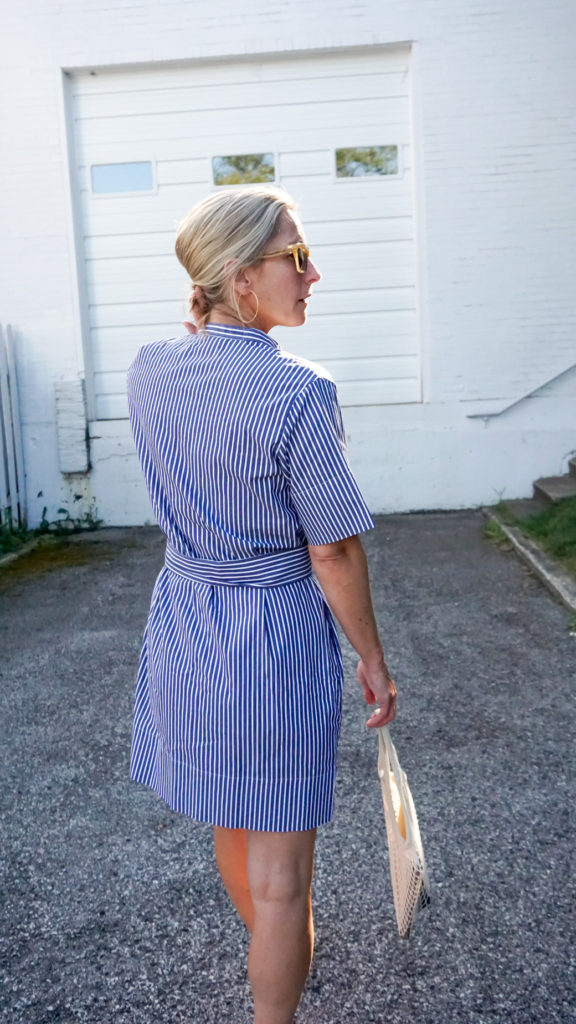 An Everlane Favorite is a stylish shirtdress, as seen here from the back